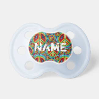 Tie Dye Peace Signs Custom Name Infant Pacifier