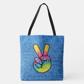 Tie-Dye Peace Symbol Tote Bag