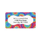 Tie Dye personalised party favour tags or labels