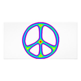 Tie Dye Rainbow Peace Sign 60's Hippie Love Photo Card Template