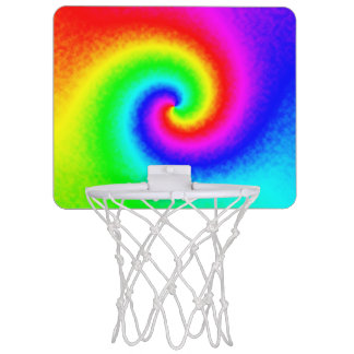 Tie-Dye Rainbow Swirl Mini Basketball Hoop