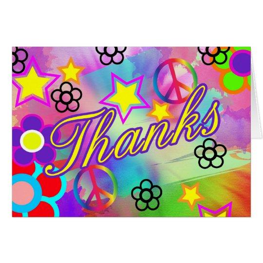 Tie dye rainbow thankyou card