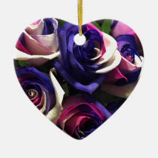 Tie Dye Roses: White, Pink, and Purple Ceramic Ornament