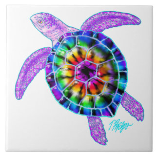 Tie Dye Sea Turtle Tile