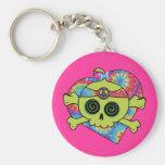 Tie Dye Skull Basic Round Button Key Ring