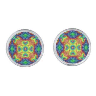 Tie Dye Sky Colorful Cufflinks, 4 shapes Silver Finish Cufflinks
