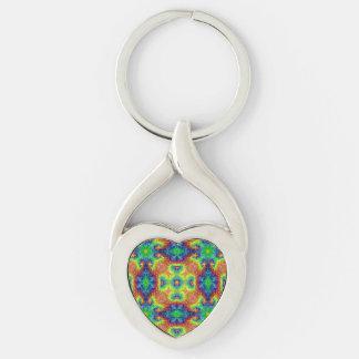Tie Dye Sky Kaleidoscope  Metal Keychains, 4 shap Key Ring