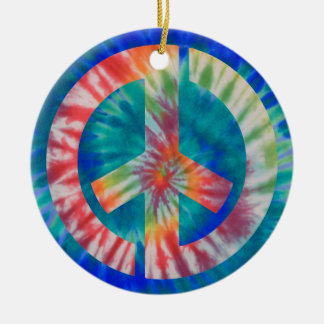 Tie-Dye Stencil Peace Round Ceramic Decoration