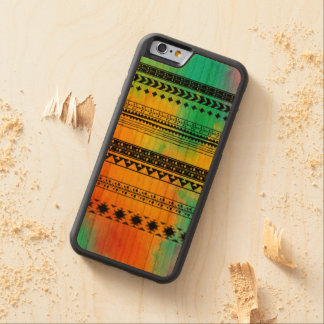 Tie-Dye Tribal Pattern Carved Cherry iPhone 6 Bumper Case