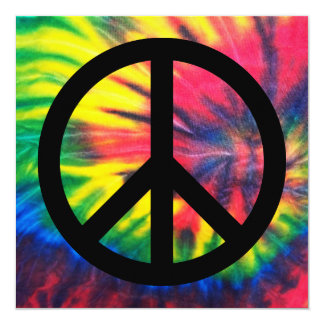 """Tie Dyed Black Peace Sign 5.25"""" Square Invitation Card"""