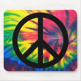Tie Dyed Black Peace Sign Mouse Pad