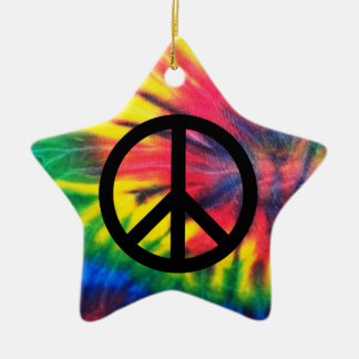 Tie Dyed Black Peace Sign Ornaments