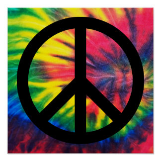 Tie Dyed Black Peace Sign Poster