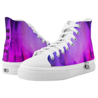 Tie-dyed  High top shoes with caption  at the back Printed Shoes