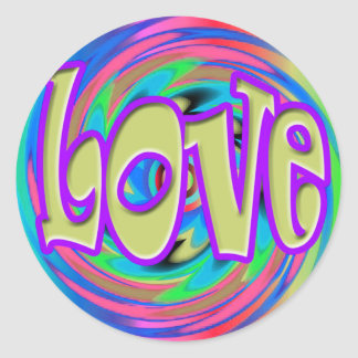 Tie Dyed Love in Bold Letters Round Sticker