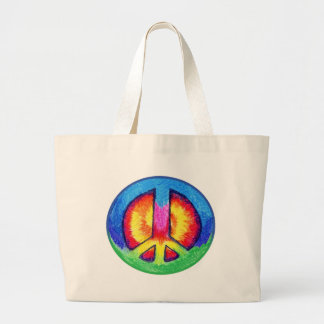 Tie~Dyed Peace Sign Large Tote Bag
