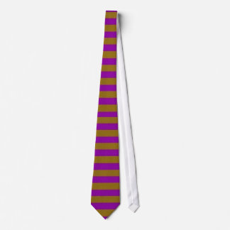 Tie. Gold and Purple Stripes . Broad Horizontal Tie