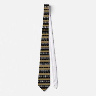 Tie Gold Black White Stripe