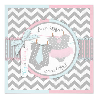 Tie or Tutu Chevron Print Gender Reveal Party Personalized Invites