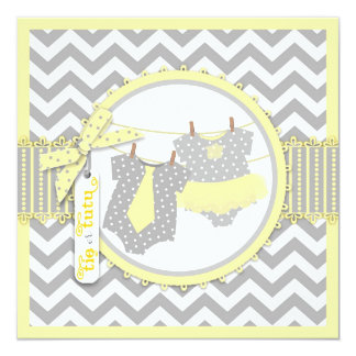 Tie or Tutu & Chevron Print Gender Reveal Party 13 Cm X 13 Cm Square Invitation Card