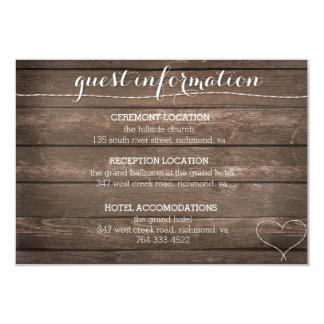 Tie the Knot Rustic Wood Wedding Information Card 9 Cm X 13 Cm Invitation Card