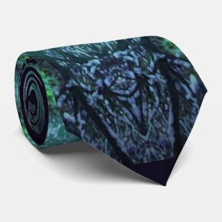 Tie w. Green and Navy-Blue Geometric Digital Image