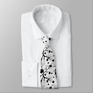 Tie with black&white little fishes
