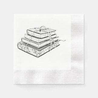 Tied Classic Books Literary Reading Pencil Sketch Paper Napkin