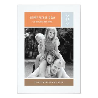 "Tied Father's Day Card - Dusty Blue 5"" X 7"" Invitation Card"