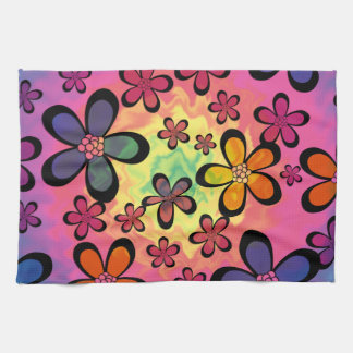 tiedye floral tea towel