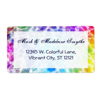 Tiedye Hippie Wavy Rainbow Effect Shipping Label