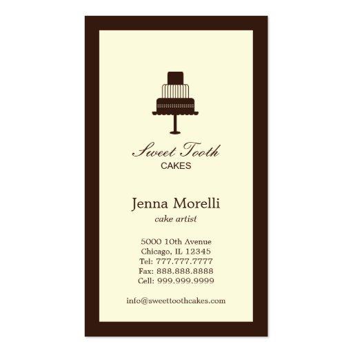 Tiered Cake Business Card - Chocolate Business Card Template