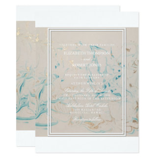Tiffany Aqua and Champagne Gold Marble 14 Cm X 19 Cm Invitation Card