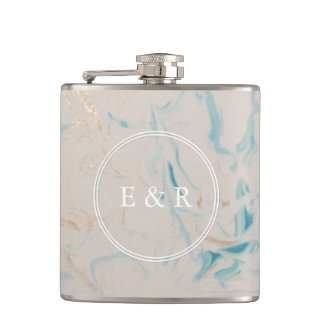 Tiffany Aqua and Champagne Gold Marble Flasks