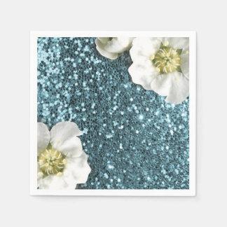 Tiffany Aqua Beach Blue Jasmine Glitter Sequin Disposable Napkins