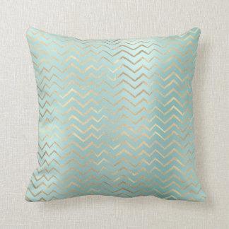 Tiffany Aqua Blue Gold Metal Zig Zag Chevron Cushion
