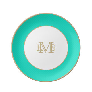 Tiffany Aqua Blue Quilted Pattern Plate