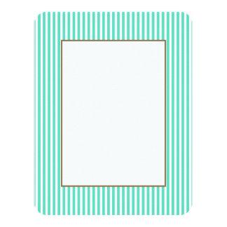"Tiffany Aqua Blue Sailor Stripes 4.25"" X 5.5"" Invitation Card"