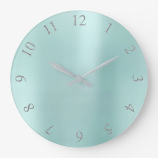 Tiffany Aqua BlueGlitter Gray Silver US UK Numbers Large Clock
