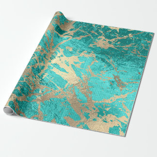 Tiffany Aqua Gold Marble Shiny Metallic Glass VIP Wrapping Paper