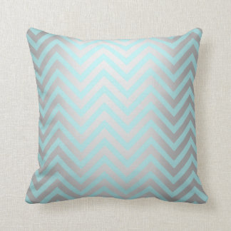 Tiffany Aqua Mint Ocean Blue Beach Chevron Silver Cushion