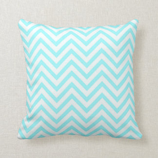 Tiffany Aqua Mint Ocean Blue Beach Chevron White Throw Pillow