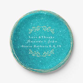 Tiffany Aqua Ocean Gold Floral Glitter Wedding Paper Plate