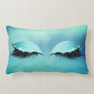 Tiffany Aqua Vip Lashes Glass Sleep Glitter Makeup Lumbar Pillow