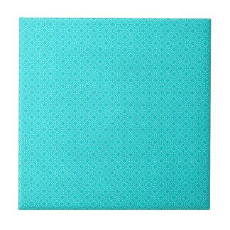 Tiffany Blue and Cream Interlocking Circles Small Square Tile