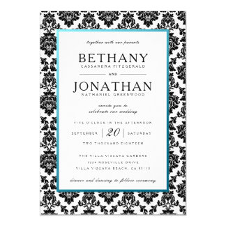 Tiffany Blue and Damask Wedding Invitation