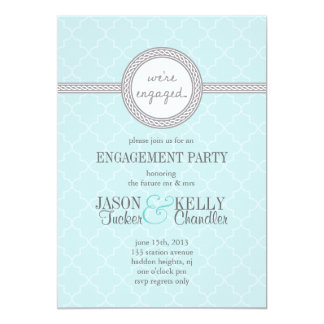 Tiffany Blue and Gray Engagement Party Invitation