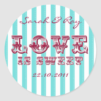 Tiffany Blue and white 'love is sweet' sticker