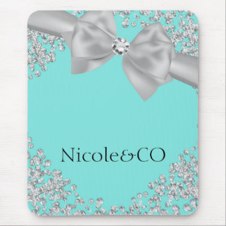 Tiffany Blue Big White Bow Diamonds Glam Custom Mouse Pad
