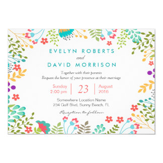 Tiffany Blue Botanical Floral Wedding Celebration Card